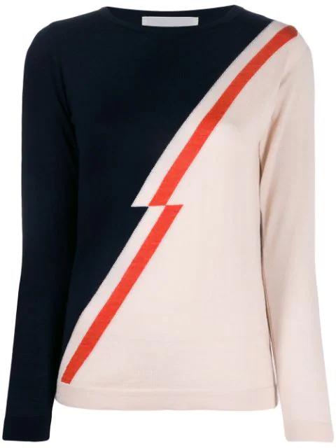 Chiara Bertani Jagged Diagonal-panel Sweater In Black