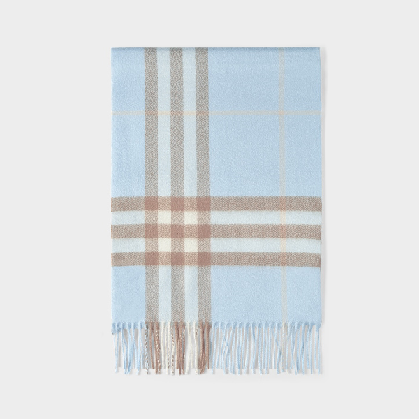 Burberry Giant Icon Check Cashmere Scarf In Pale Blue/ Arc Beige