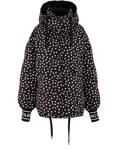 Dolce & Gabbana Reversible Polka Dot Puffer Jacket In Black