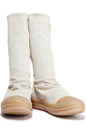 Rick Owens Woman Rubber-trimmed Stretch-suede Sock Boots Ivory