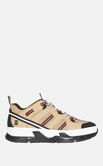 Burberry Black Unisex Monogram Motif Mesh And Leather Sneakers In Beige