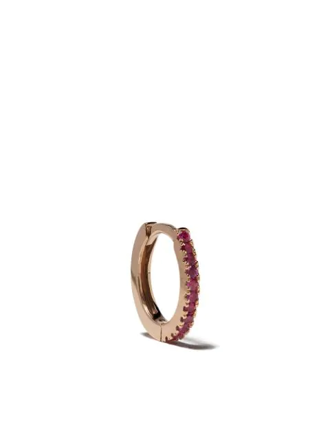 White Bird 18kt Rose Gold Ruby Margot Medium Single Hoop Earring In Rose Gold/rouge