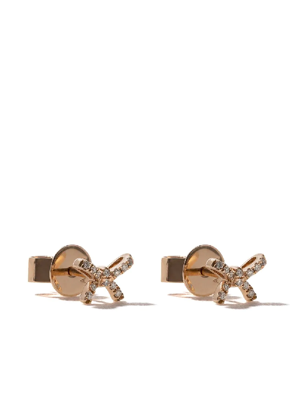 As29 18Kt Rose Gold Mini Charm Bow Diamond Stud Earrings