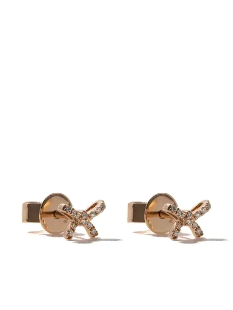 As29 18kt Rose Gold Mini Charm Bow Diamond Stud Earrings