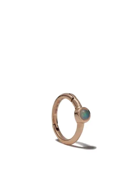 White Bird 18kt Rose Gold Opal Justine Hoop Single Earring