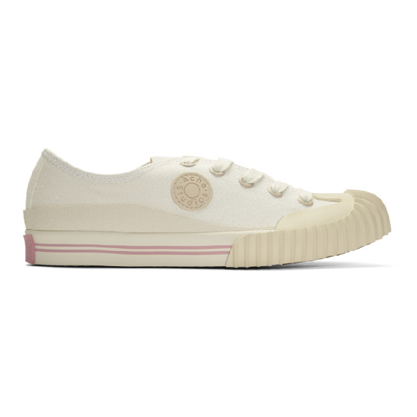 Acne Studios Logo-patch Canvas Sneakers Ivory White
