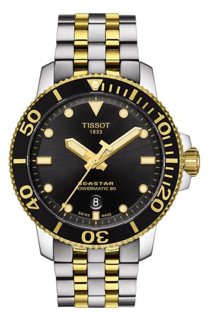 Tissot Seastar 1000 Powermatic 80 Bracelet Watch, 43mm In Silver/ Black/ Gold | ModeSens