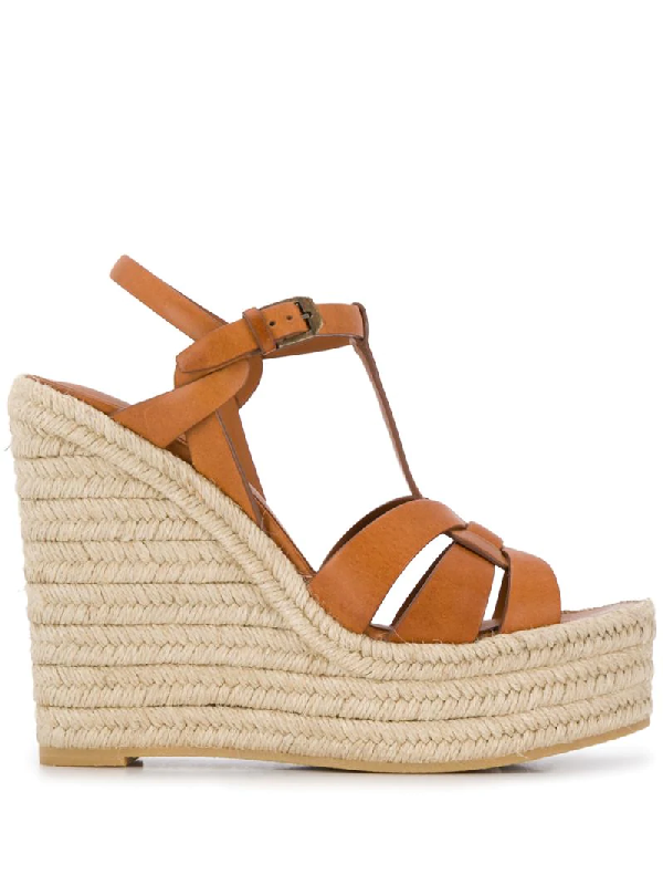 Saint Laurent Brown Tribute 85 Leather Espadrille Wedge Sandals In Tan