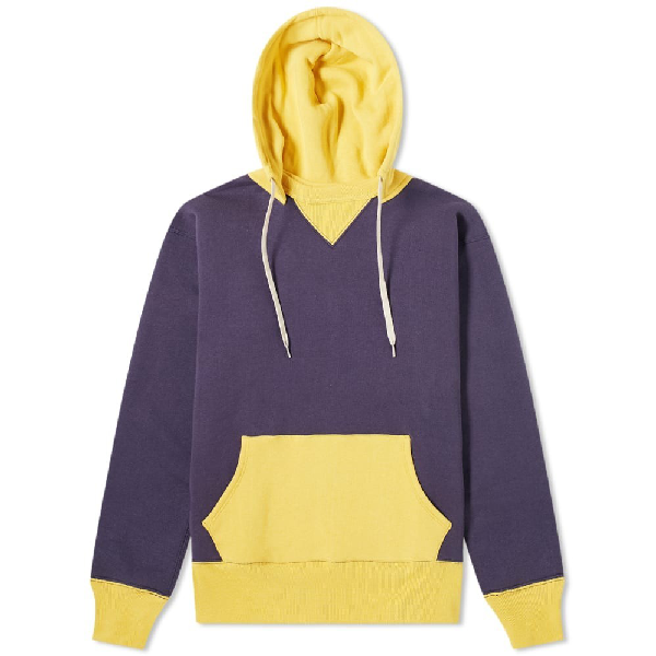 The Real Mccoys The Real Mccoy's Two-tone Hoody In Blue