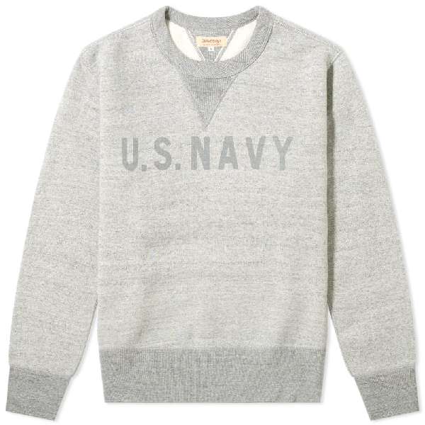 The Real Mccoys The Real Mccoy's U.s. Navy Reflector Crew Sweat In Grey