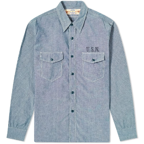 The Real Mccoys The Real Mccoy's U.s.n. Chambray Shirt In Blue