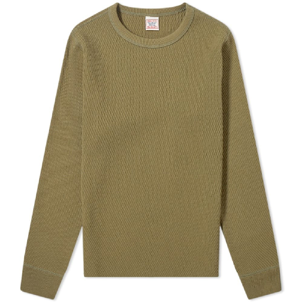 The Real Mccoys The Real Mccoy's Long Sleeve Military Thermal Tee In Green