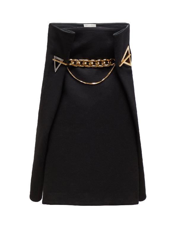 Bottega Veneta Chain AppliquÉ High-waisted Cashmere Midi Skirt In Black Gold