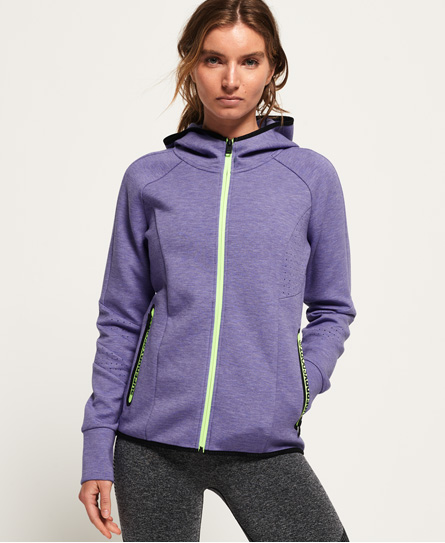 Superdry Core Gym Tech Panel Zip Hoodie In Purple