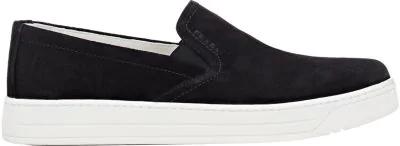 Prada Suede Laceless Sneakers In Klack