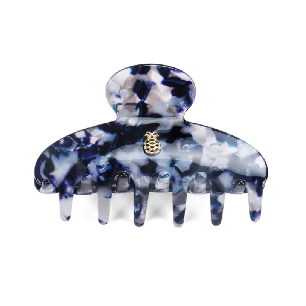 Ia Bon Small Hair Claw – Blue & Grey Marble In Multi Color