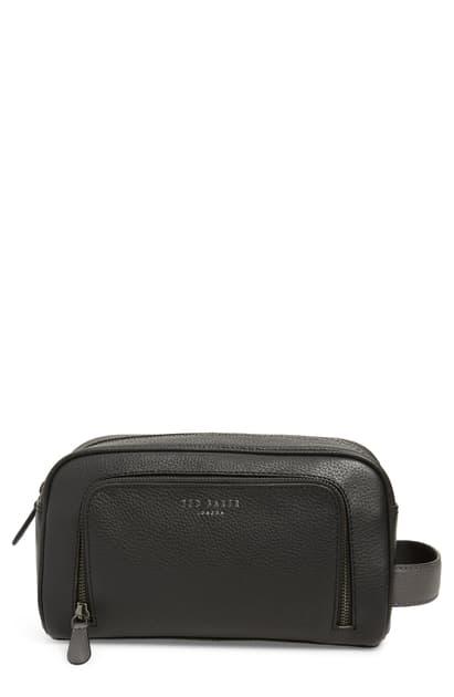 Ted Baker Core Leather Dopp Kit In Black