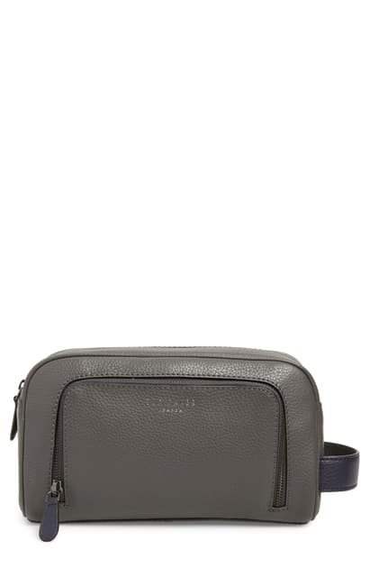 Ted Baker Miel Leather Dopp Kit In Grey