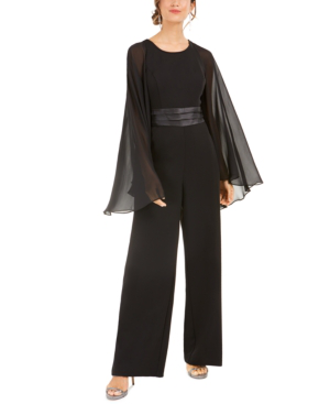 Adrianna Papell Satin-cape Jumpsuit In Black