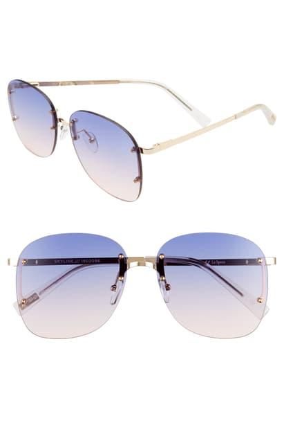 Le Specs Skyline 59mm Rimless Sunglasses In Bright Gold/ Blue Grad