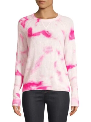 Line Clover Tie-dye Cashmere Sweater In Hot Pink