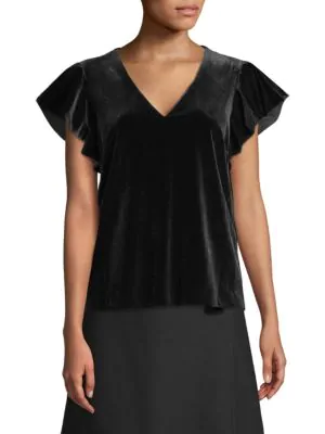 Draper James Velvet Ruffle Sleeve Top In Black