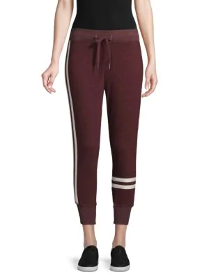 N:philanthropy Striped Cotton-blend Jogger Pants In Winetasting