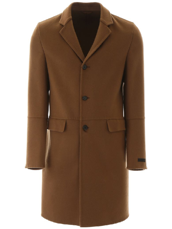 Prada Cashmere Coat In Beige