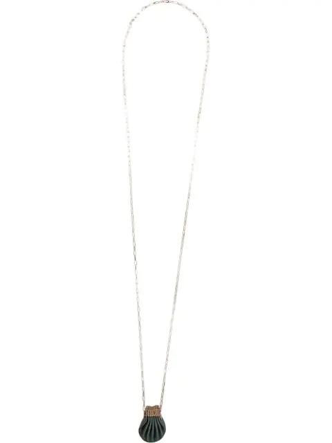 Werkstatt:münchen Halskette Mit Muschelanhänger In Blue