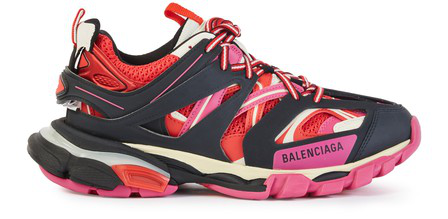 Balenciaga Track Sneakers In Black, Pink And Red Mesh And Nylon In 1052 Black/Pink/Red