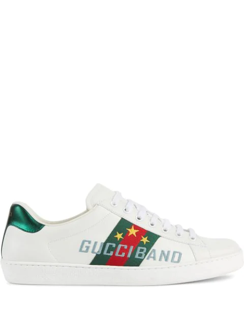 Gucci 'new Ace' Slogan Embroidered Contrast Counter Sneakers In White
