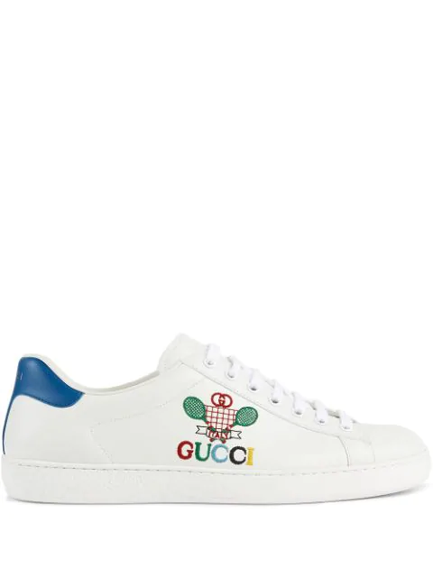 Gucci New Ace Tennis-embroidered Leather Low-top Trainers In White ,blue
