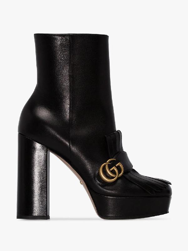 Gucci Ankle Platform Boots C9d00 Calfskin Logo Fringe Metallic Black