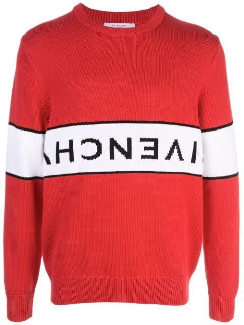 Givenchy Logo-intarsia Cotton-knit Jumper In Red