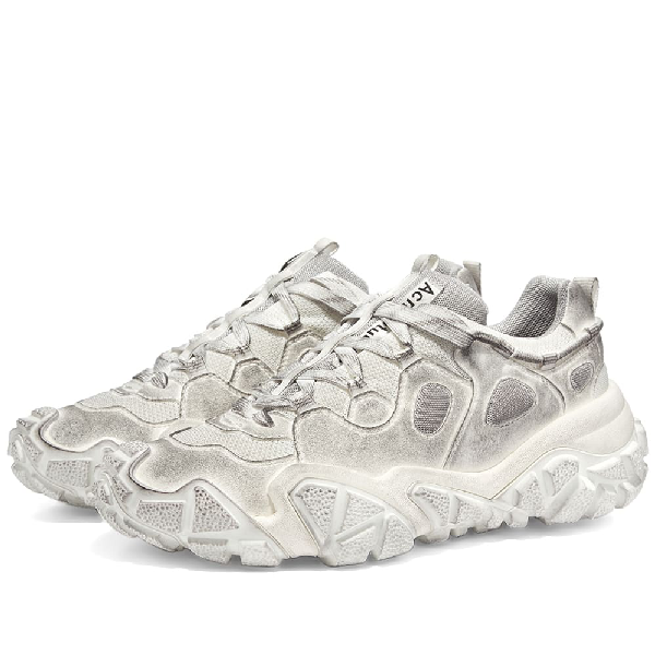 Acne Studios Boltzer Distressed Rubber-trimmed Suede And Mesh Sneakers In White
