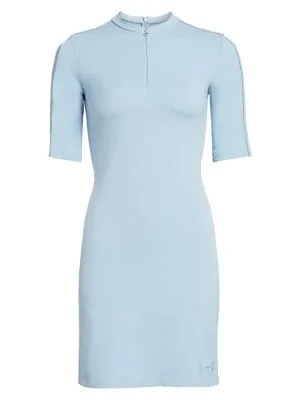 Artica Arbox Zip-front Piping Dress In Celestial