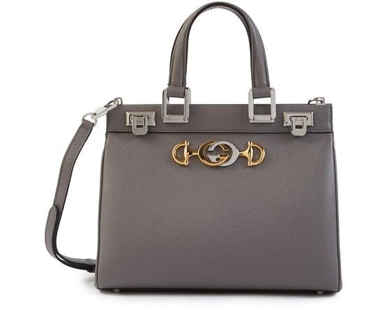 Gucci Zumi Grainy Leather Medium Top Handle Bag In Grey