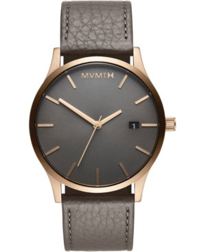 Mvmt Men's Classic Bronze Age Gray Leather Strap Watch 45mm In Grey