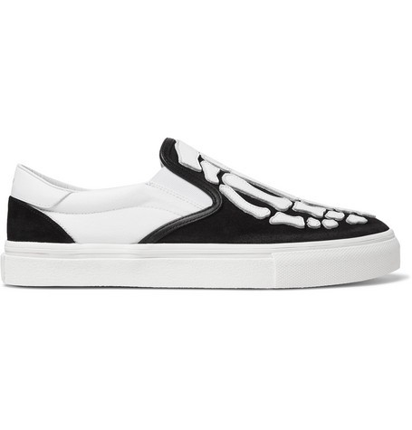 Amiri Skel Toe Leather-appliquÉd Canvas And Suede Slip-on Sneakers In Black