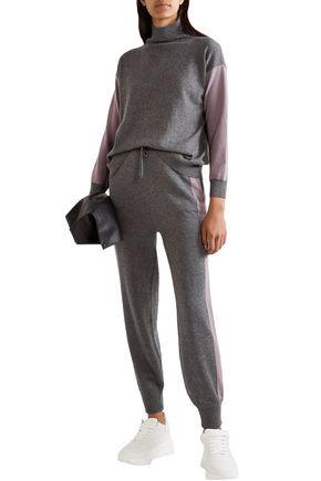 Agnona Two-tone Cashmere Track Pants In Dark Gray