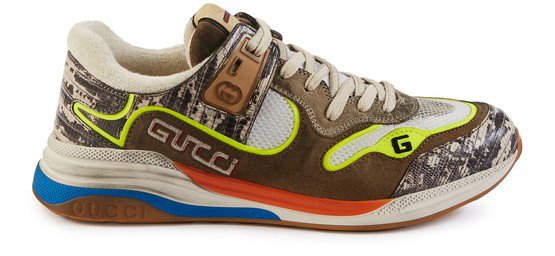 Gucci Ultrapace Distressed Suede, Mesh And Snake-effect Leather Sneakers In Brown