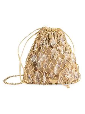 Prada Small Stone-embellished Net Bag In Gold