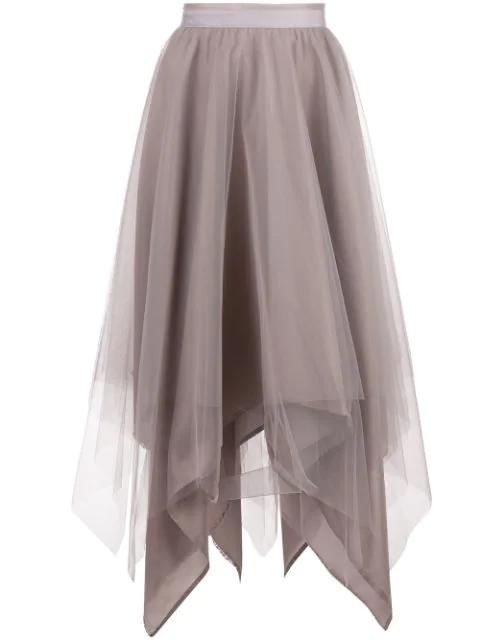 Marc Le Bihan Asymmetric Hem Silk Skirt In Grey