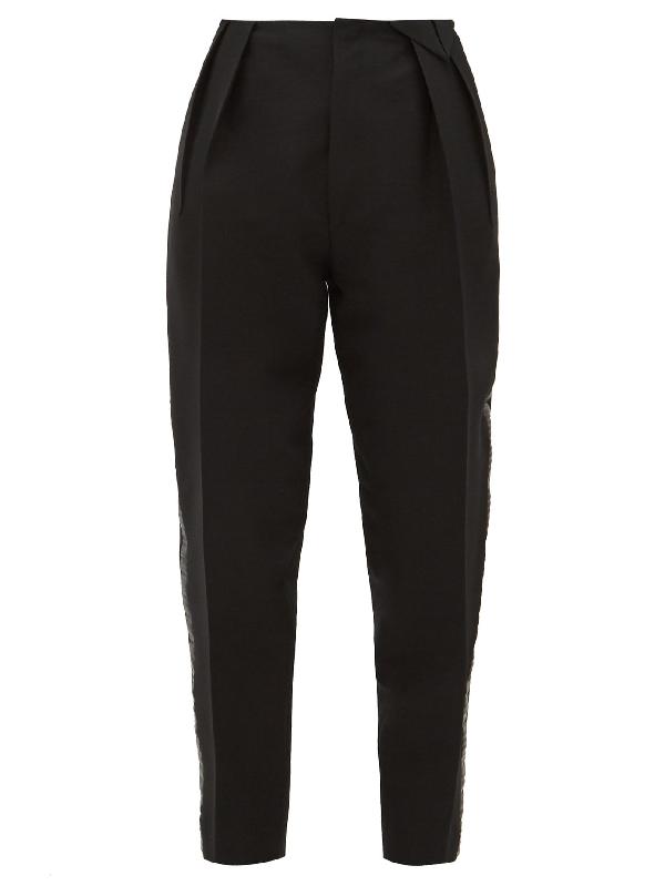 Bottega Veneta Satin-trim Structured Wool-blend Twill Trousers In Black