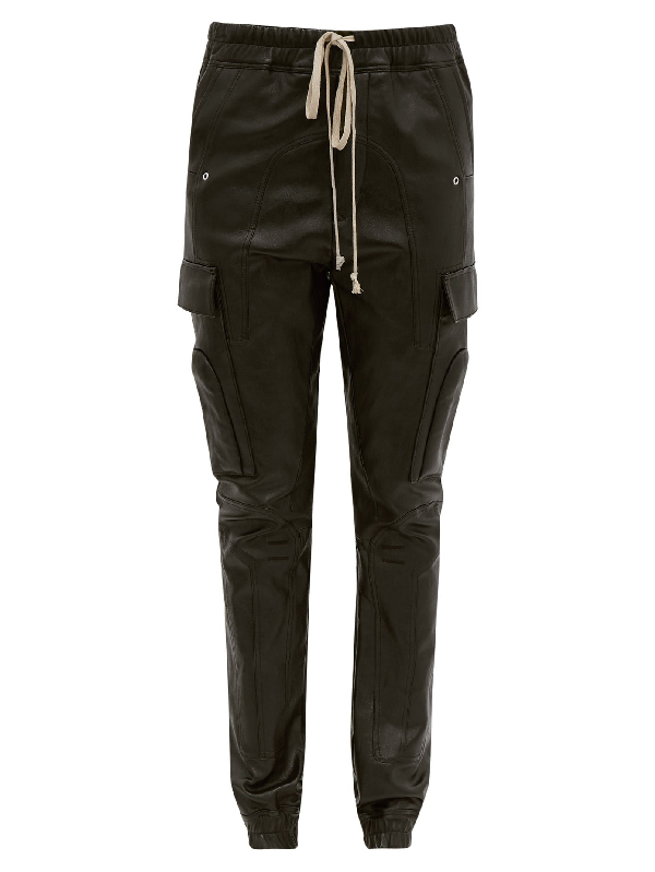 Rick Owens Drawstring Bonded Leather Trousers In Black