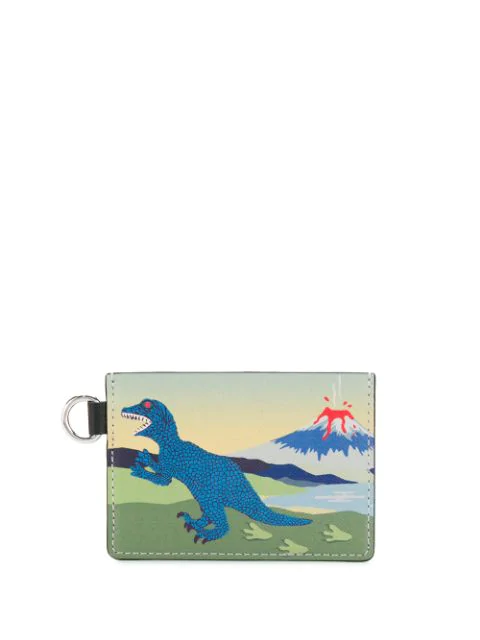 Ps By Paul Smith Dinosaur Print Coin Pouch In Blue