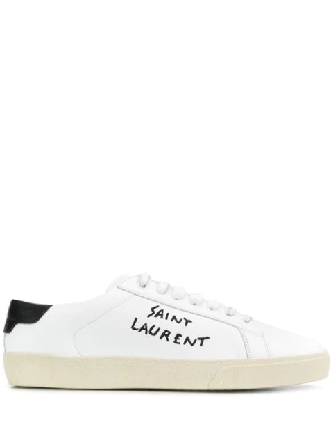 Saint Laurent Court Classic Logo-embroidered Leather Sneakers In White