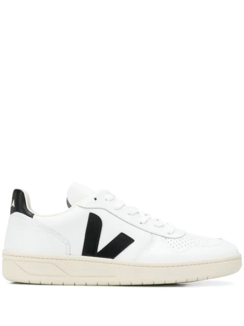 Veja Men's Shoes Leather Trainers Sneakers V 10 In White