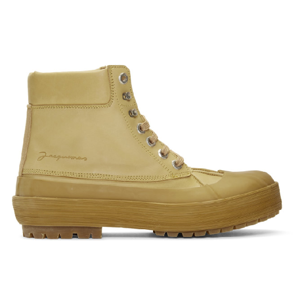 Jacquemus Les Meuniers Hautes Rubber-trimmed Leather Ankle Boots In Camel