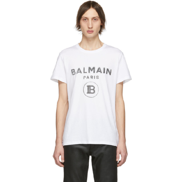 Balmain White Logo-print Cotton T-shirt In 0fa Blanc